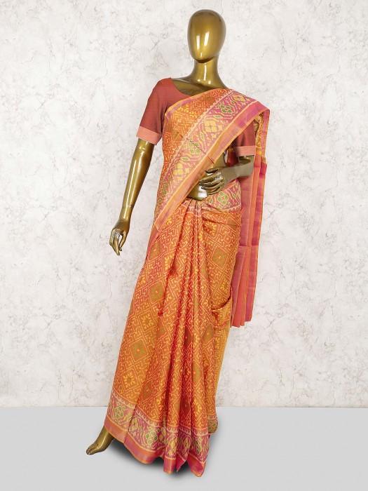 Pretty Orange Patola Silk Wedding Sree