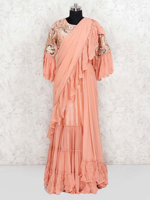 Pretty Peach Cotton Silk Designer Long Salwar Suit