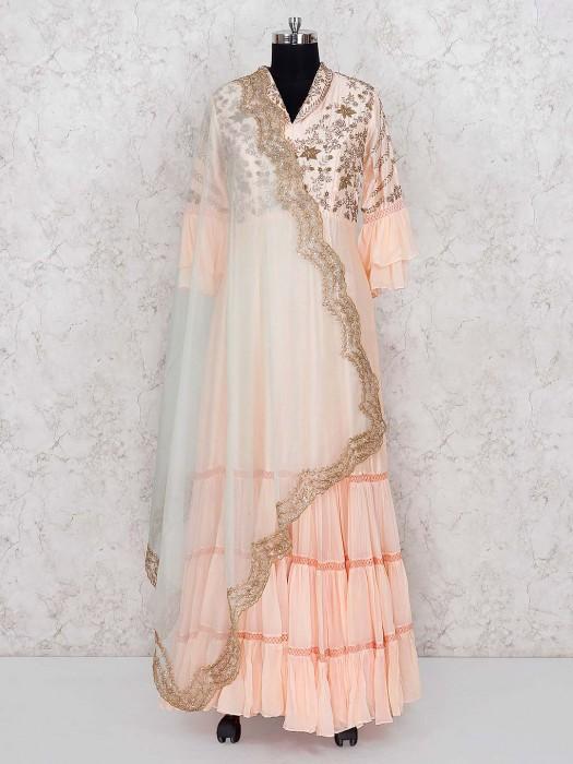 Pretty Peach Cotton Silk Floor Length Anarkali Salwar Suit