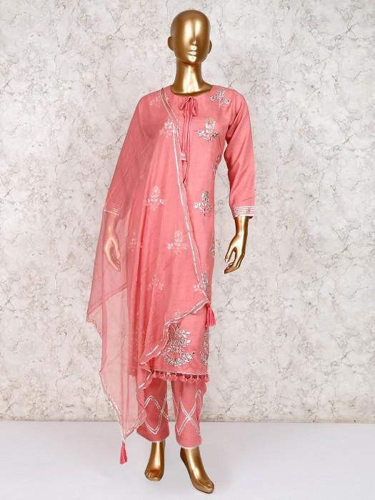 Pretty Peach Festive Salwar Suit In Cotton Silk