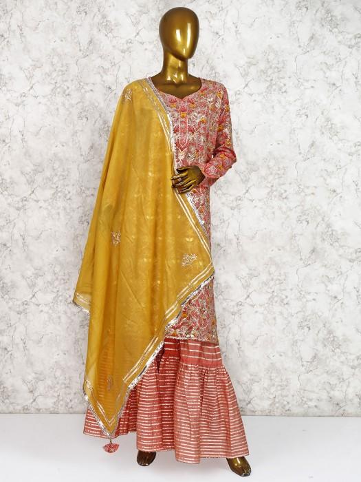 Pretty Peach Hue Cotton Silk Punjabi Sharara Suit