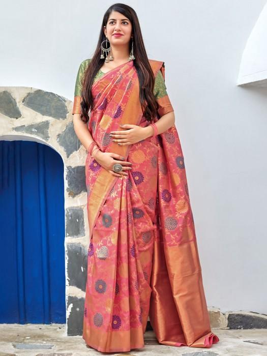 Pretty Peach Hued Semi Silk Fabric Saree
