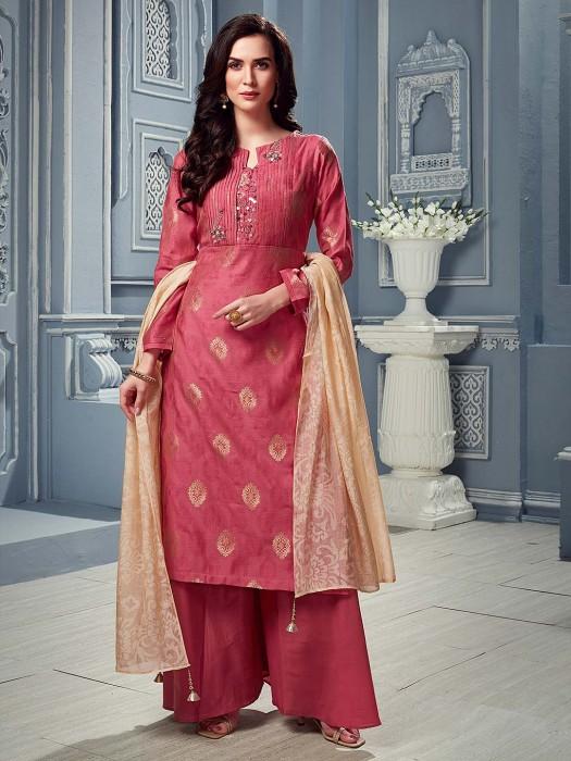 Pretty Peach Punjabi Palazzo Suit In Cotton Silk