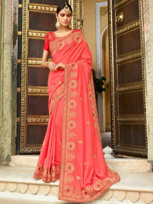 Coral Pink Semi Silk Saree For Wedding