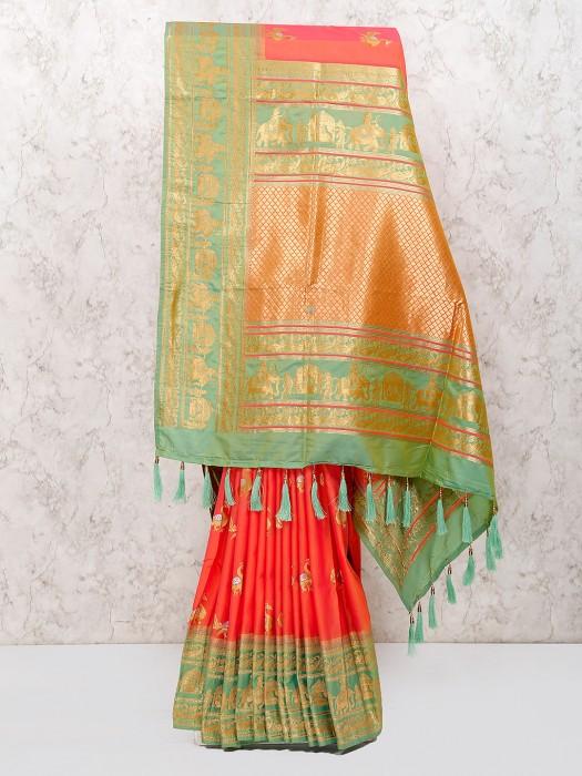 Pretty Peach Semi Silk Saree For Wedding Function