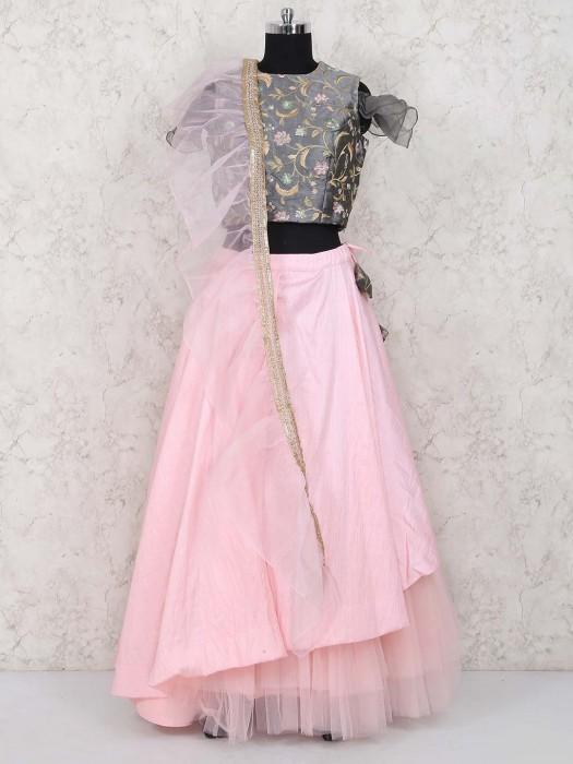 Pretty Pink And Grey Hue Jute Silk Lehenga Choli