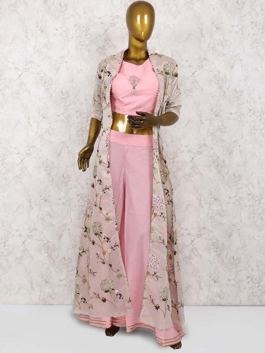 Pretty Pink Color Cotton Silk Punjabi Palazzo Suit