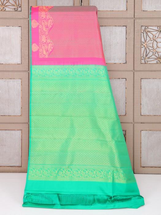 Pretty Pink Color Silk Fabric Saree