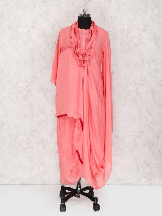 Pretty Pink Cotton Fabric Kurti