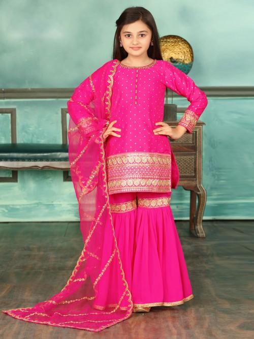 Pretty Pink Cotton Silk Punjabi Sharara Suit