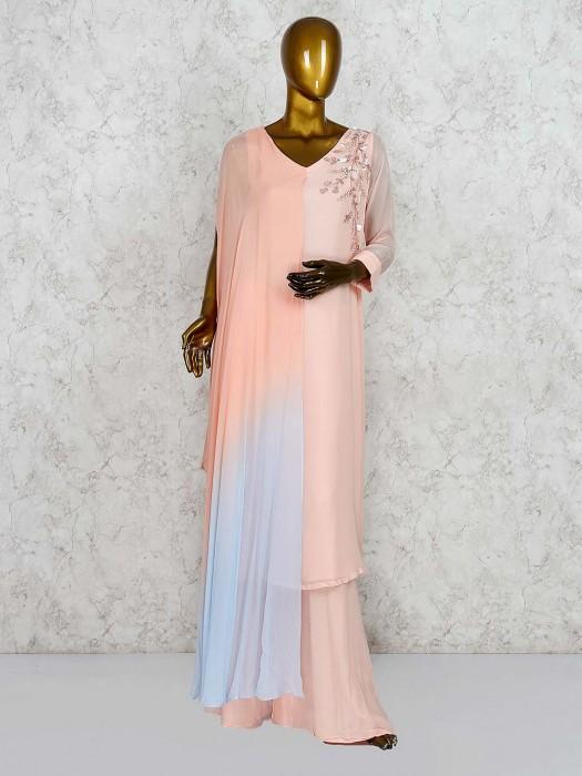 Pretty Pink Designer Punjabi Palazzo Suit