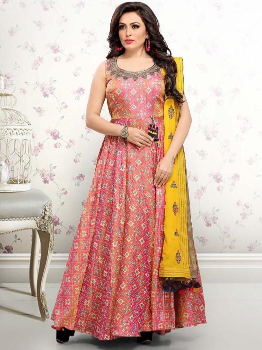 Pretty Pink Floor Length Anarkali Salwar Suit In Cotton Silk