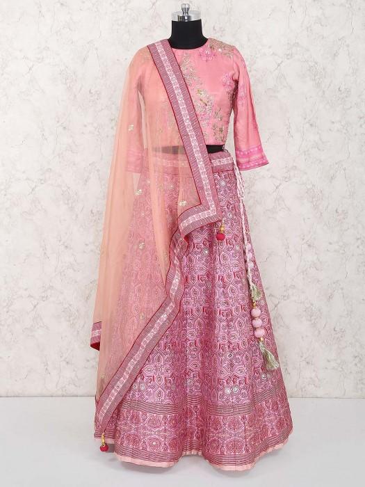 Pretty Pink Lehenga Choli In Cotton