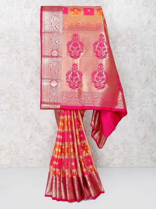 Pretty Pink Semi Silk Lovely Saree