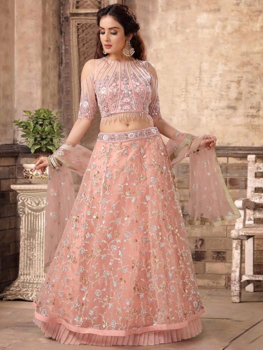Pretty Pink Wedding Net Lehenga Choli