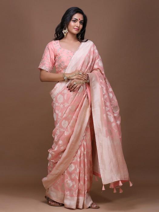 Pretty Pink Wedding Pure Silk Saree