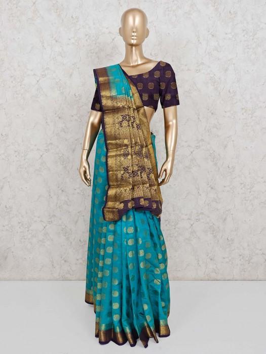 Pretty Rama Green Saree In Semi Cotton Silk