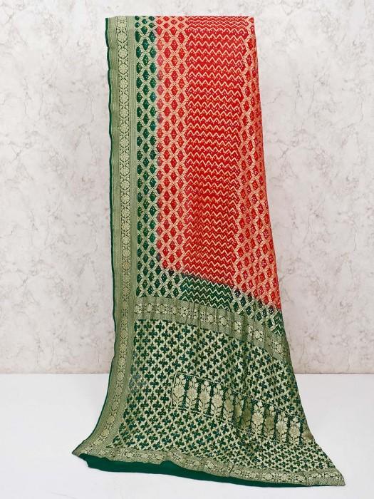 Pretty Red Saree In Bandhej Fabric