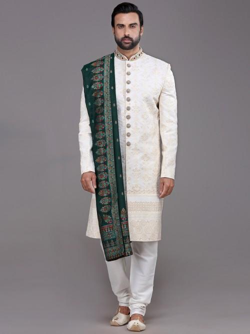 Princely White Silk Sherwani