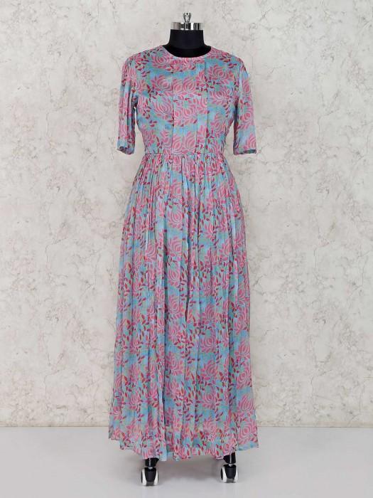Printed Blue Georgette Festive Anarkali Suit