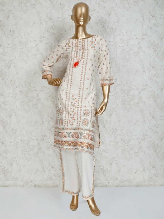 Printed Cream Cotton Festive Pant Suit