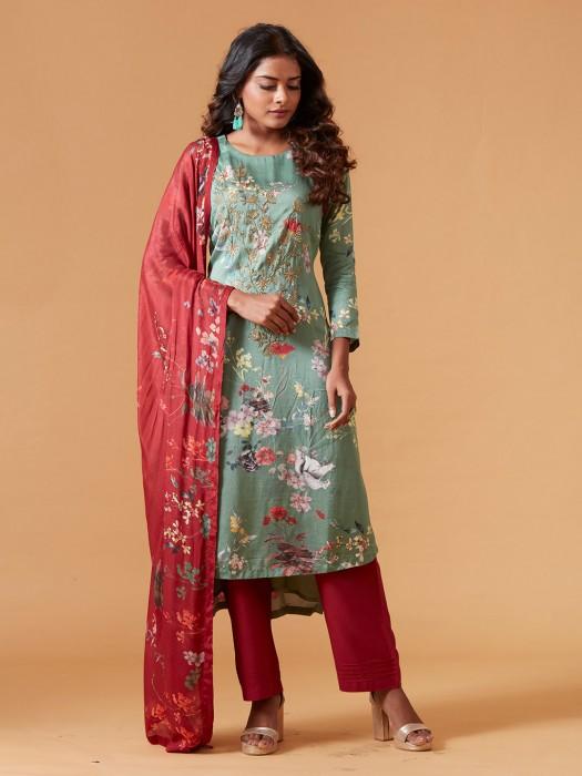 Printed Green Raw Silk Punjabi Salwar Suit
