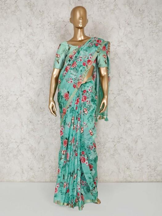 Printed Green Semi Silk Saree