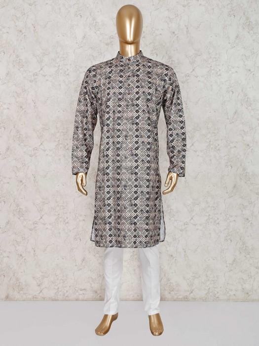 Printed Grey Cotton Stand Collar Kurta Suit
