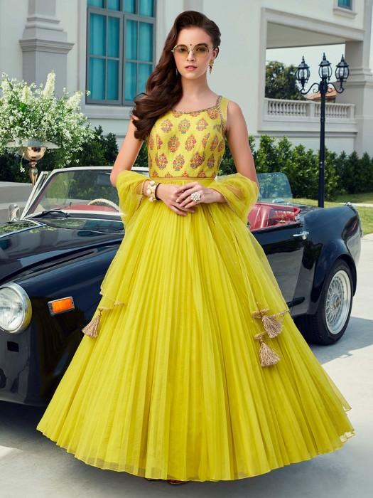 Printed Lemon Yellow Party Or Weddinf Anarkali Suit