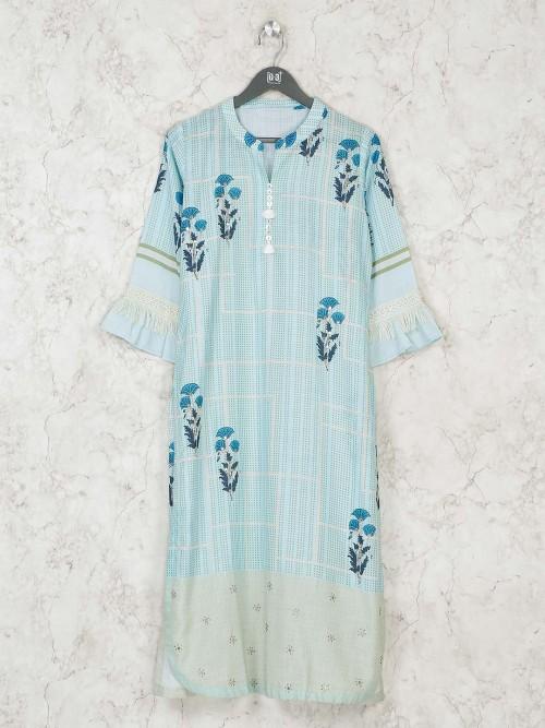 Printed Light Blue Cotton Chinese Neck Kurti