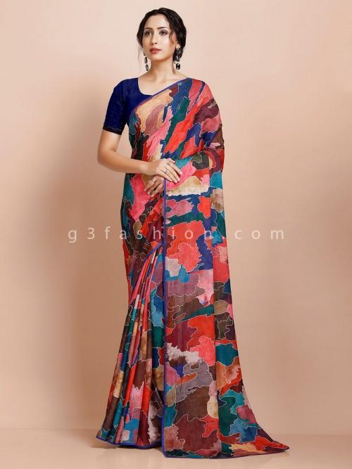Printed Multicolor Georgette Saree For Festive Wear