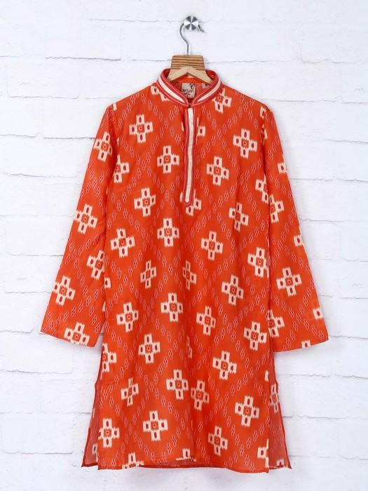 Printed Orange Festive Wear Kurta Suit