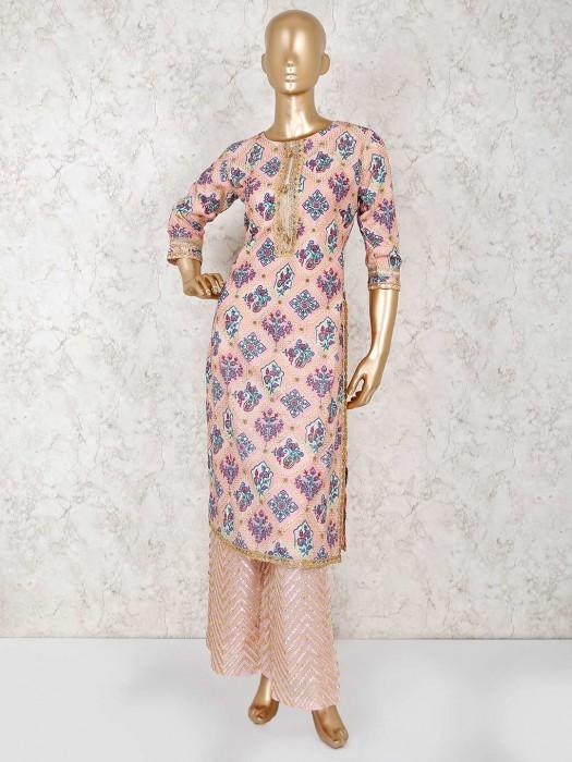 Printed Pink Palazzo Salwar Suit In Cotton Silk