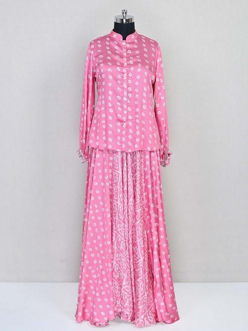 Printed Pink Satin Party Wear Indo Western Salwar Suit