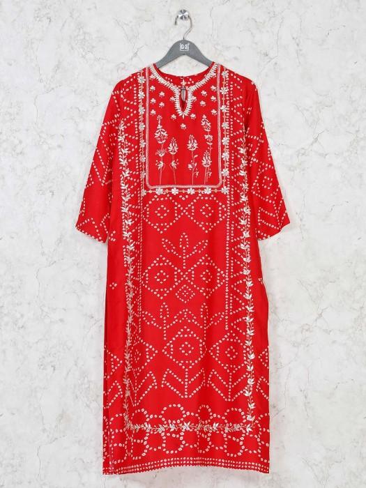 Printed Red Cotton Silk Kurti For Festive