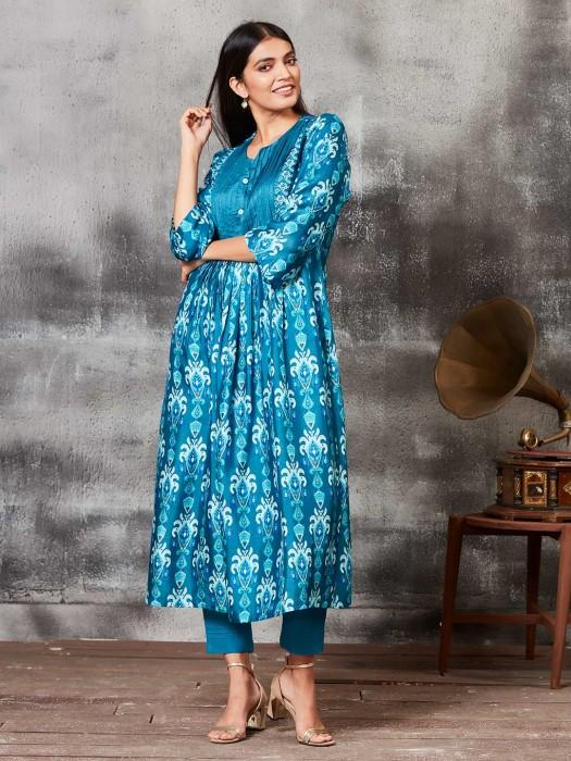 Printed Teal Blue Raw Silk Punjabi Salwar Suit