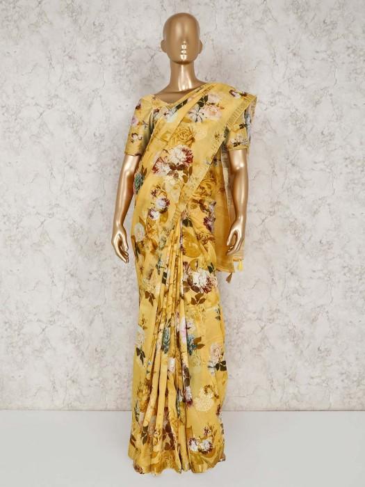 Printed Yellow Semi Silk Saree