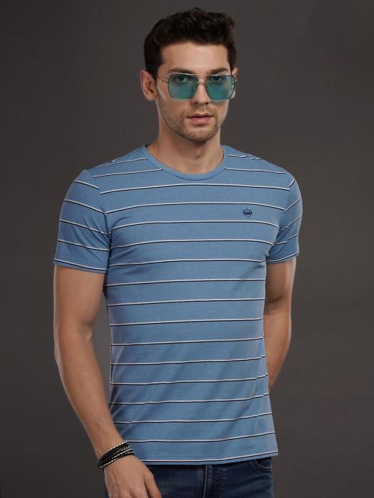 Psoulz Blue Stripe Casual Wear T-shirt