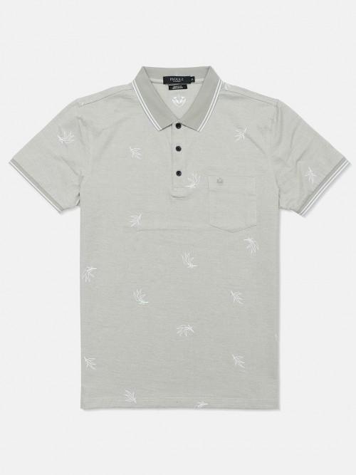 Psoulz Mens Printed Light Grey Polo T-shirt