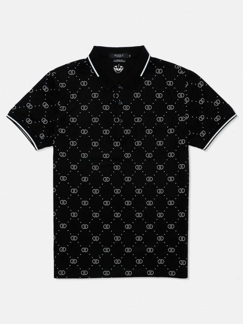 Psoulz Printed Black Printed Polo T-shirt