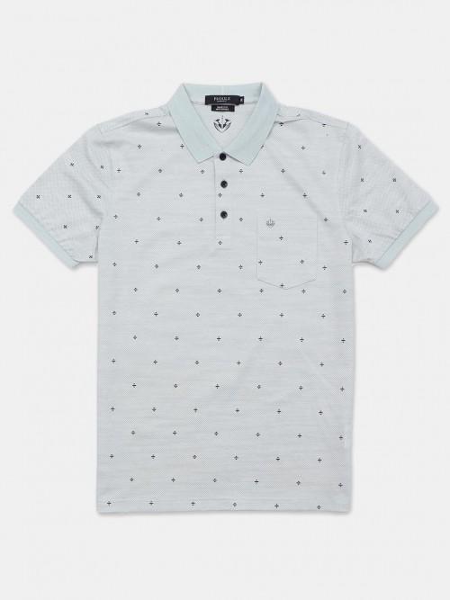 Psoulz Printed Light Grey Printed Polo T-shirt