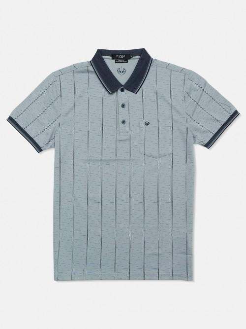 Psoulz Slim Fit Grey Printed Polo T-shirt