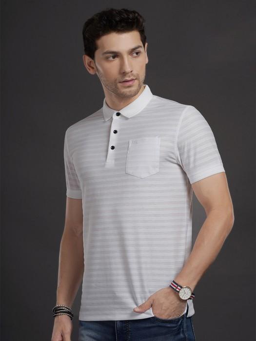 Psoulz White Stripe Patch Pocket T-shirt