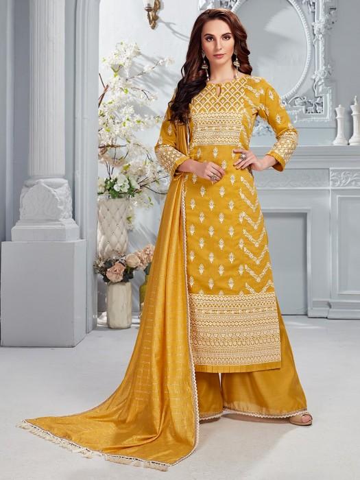 Punjabi Palazzo Suit In Yellow Cotton Silk