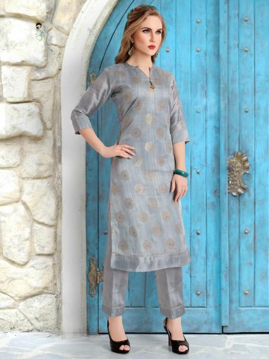 Punjabi Pant Suit In Grey Cotton Silk