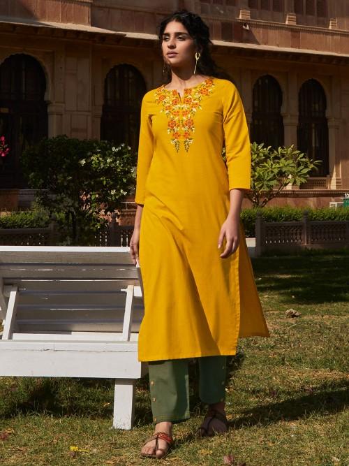 Punjabi Pant Suit In Mustard Yellow Cotton Fabric