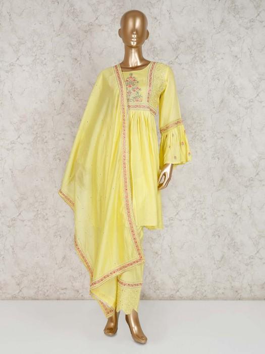 Punjabi Pant Suit In Yellow Cotton