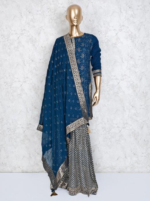 Punjabi Sharara Suit In Blue Georgette