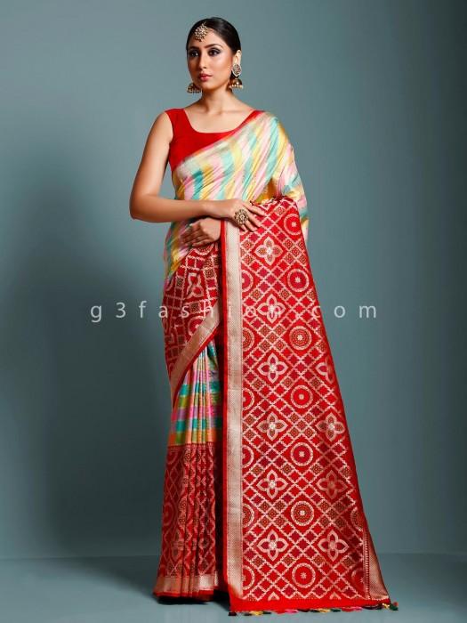 Pure Handloom Banarasi Silk Saree In Red