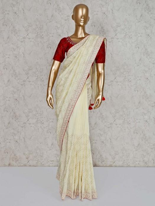 Pure Silk Saree In Cream